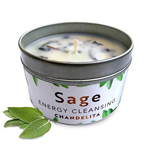 CHANDELITA Aroma-Kerze aus reinem Salbei für Segen und Energie im Haus,...