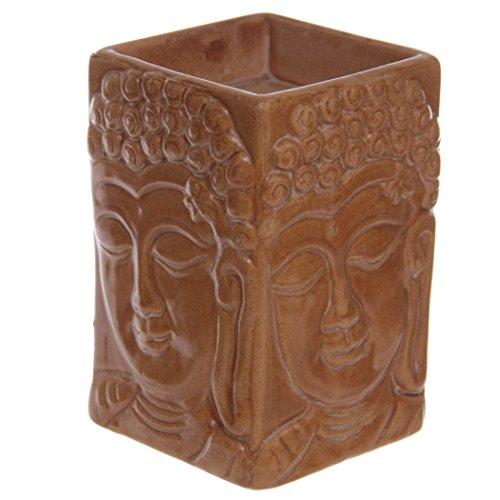 Teelicht Aroma Duft-Lampe #50417 Brucheffekt Duftlampe mit geprägtem Buddha-Desi
