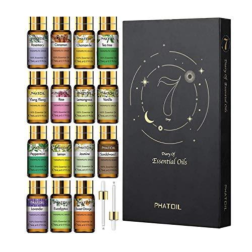 PHATOIL ätherische Öle Set 15Pcs, Lavendel, Eukalyptus, Jasmin, Zitronengras,...