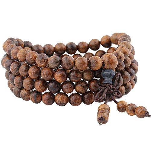 mookaitedecor elastisches Holz Armband mit 108 Perlen, Buddhistische Tibetische...