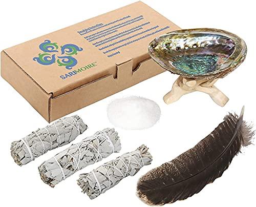 Raucherbündel, weiße Salbeibündel 10,2 cm, Abalone-Muschel 12,7 - 15,2 cm, 5,1 cm...
