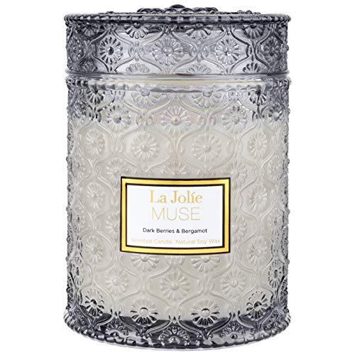 LA JOLIE MUSE Duftkerze im Glas, dunkle Beeren und Bergamotte, 100 % natürliche...
