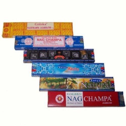 Satya Räucherstäbchen 6er Set Nag Champa Aastha Goloka Natural Räucherware 91g