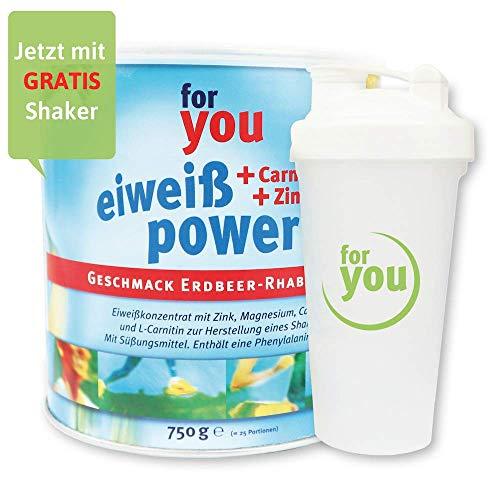 for you Power Eiweiß nach Strunz I Eiweißpulver Erdbeer-Rhabarber 750g + Shaker I...