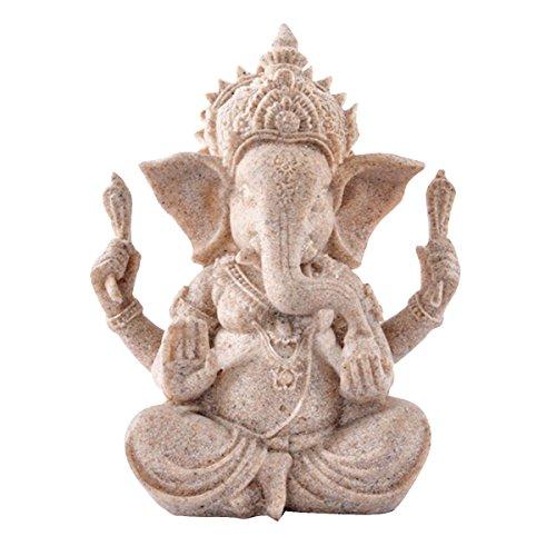 Kitchnexus Ganesha Buddha Statue Sandstein Skulptur Elefant Statue Buddha Figur