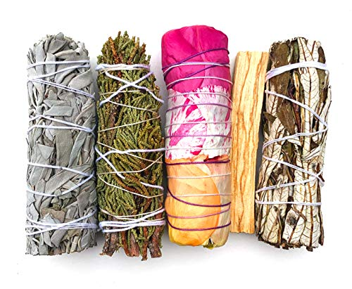 MAMA WUNDERBAR Smudge Kit - Weißer Salbei, Palo Santo Sticks, Rosen Smudge Stick,...