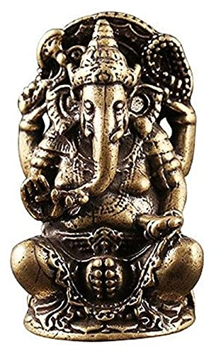 WQQLQX Statue Ganesha Buddha Skulptur Reines Kupfer Thai Elefant Gott Statue Handwerk...