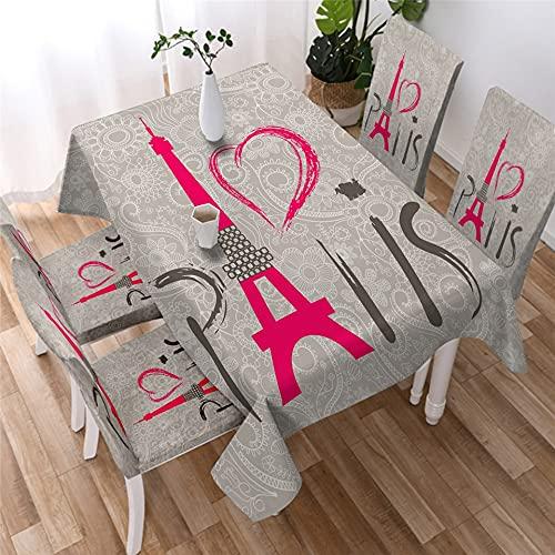 XXDD Tower Tischdecke Tischdecke Rechteckiger Tisch Romantische Buchstaben Esstisch...
