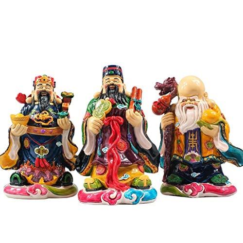 Buddha Statuen Deities Fuk LUK Sau Buddha Statue Beschichtete Keramik Fu Lu Shou Drei...