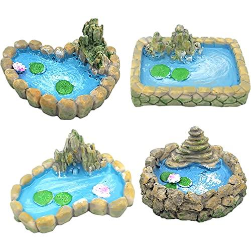 FUFRE 4 Stück Miniatur-Teich-Ornamente, Feengarten Deko Zubehör...