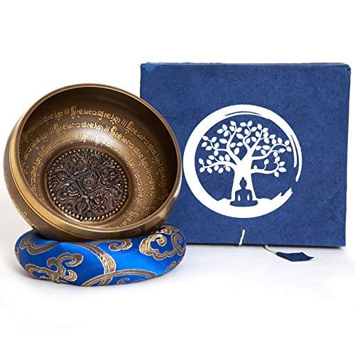 Klangschale aus Nepal – 5 Metalle – Rosenholz Klöppel mit Leder – für Meditation – Klangtherapie – Achtsamkeit – Aufmerksamkeit – handgeschöpftes Loktapapier Box Set – Gravur in Nepālī