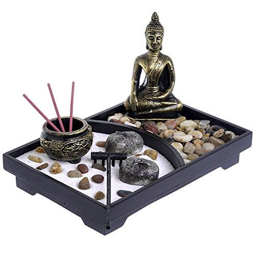 London Boutique Zen Garten- und Deko-Steinen (mit Halterung, Weiß, mit Thai...