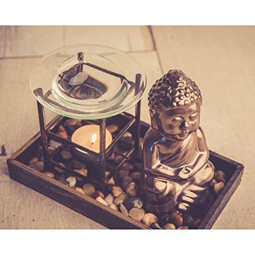 Aromalampe Teelicht Buddha Figur 14cm Duftlampe Buddhismus Deko Öl Teelichthalter...