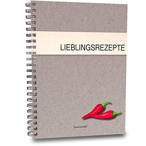 Luminick Rezeptbuch, modernes Design, 44 Seiten DIN A5 zum Selberschreiben, Eintragen...