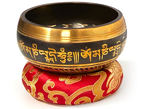 Tibetische Klangschale Set, schwarz, mit Klöppel und Klangschalenkissen in...