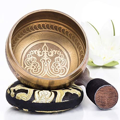 Silent Mind tibetische Klangschale Set ~ Bronze Mantra Design ~ mit hochwertigem Holz...
