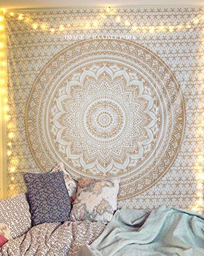 raajsee Indisch Psychedelic Wandteppich Mandala Glänzend Gold weiß, Elefant Boho...