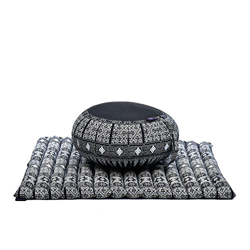 Leewadee Meditationskissen Set Sitzkissen Rund Zafu Yoga Kissen Zabuton Yogakissen...