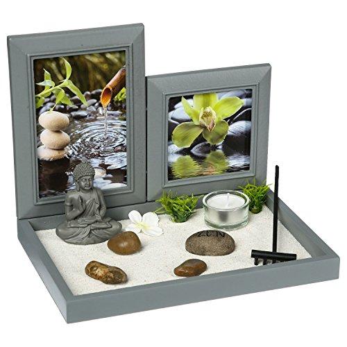 ATMOSPHERA CREATEUR D'INTERIEUR Zen-Garten: Buddha auf einem Tablette mit Fotorahmen,...