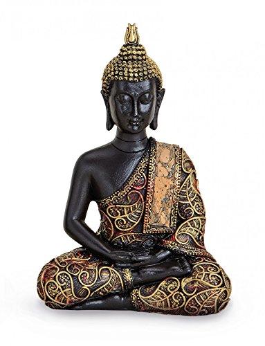 TEMPELWELT Deko Figur Buddha Statue Amithaba sitzend 15 cm hoch, Polystein schwarz...