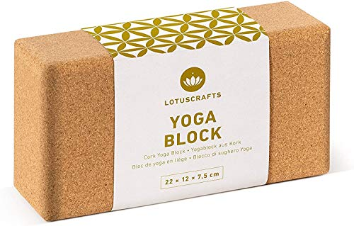 Lotuscrafts Yogablock Kork Supra Grip - ökologisch hergestellt - Yogaklotz aus...