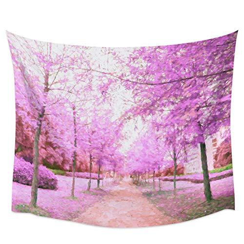 Malstil Kirschblütenpfad voller Blumen Wandteppich Abdeckung Strandtuch Picknick...