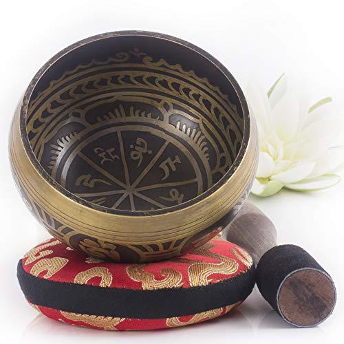 Silent Mind tibetische Klangschale Set ~ Antik Design ~ mit hochwertigem Holz...