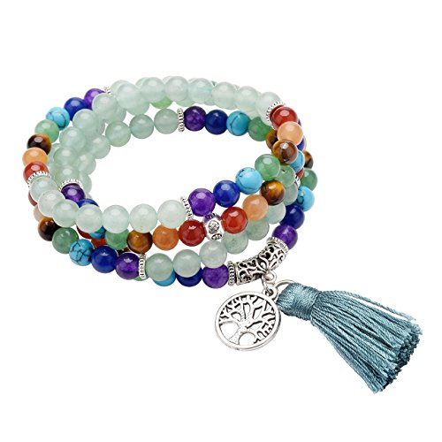 CrystalTears 108 Perlen Edelstein Yoga Armband Chakra Wickelarmband Buddha Tibetische...