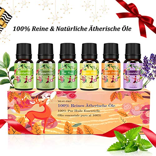 Aromatherapie Ätherische Öle Geschenkset für Diffuser - 100% Pure Aroma Duftöle -...