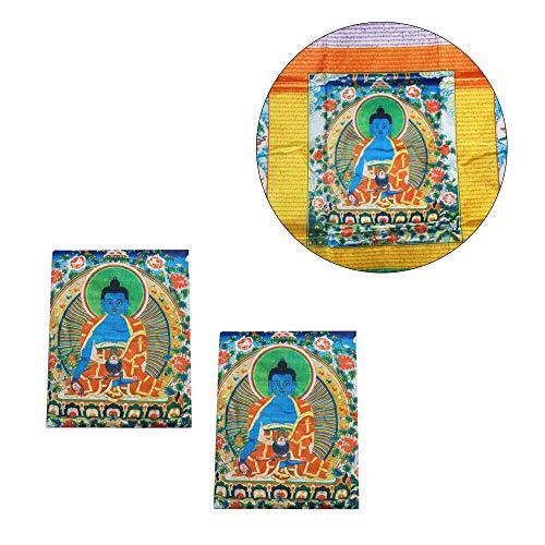 Wixine Tibetische Gebetsfahne für Buddhismus, Medizin, Satin, 2 Stück