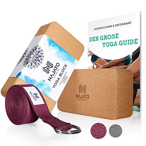 NAJATO Sports Yoga Block Kork 2er Set – Mit Yoga Gurt & E-Book – Yogaklotz für...