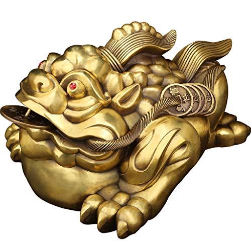 WIIVII Figur Deko Messing Feng Shui Geld Frosch Lucky Chinese Kröte mit Münzen-...