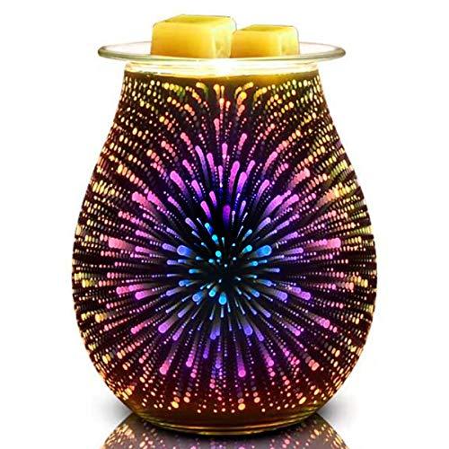 Bobolyn Elektrische Duftlampe aus Glas, Duftwachs-Brenner für Zuhause, Büro,...