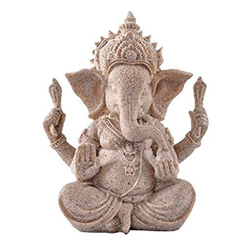 PIXNOR Sandstein Ganesha Buddha Elefanten Statue Skulptur handgefertigte Figur