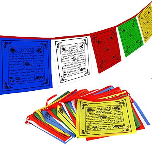 CHENYYY Tibet Buddhistische Gebetsfahne - Traditionelle fünf Elemente - Horizontales...