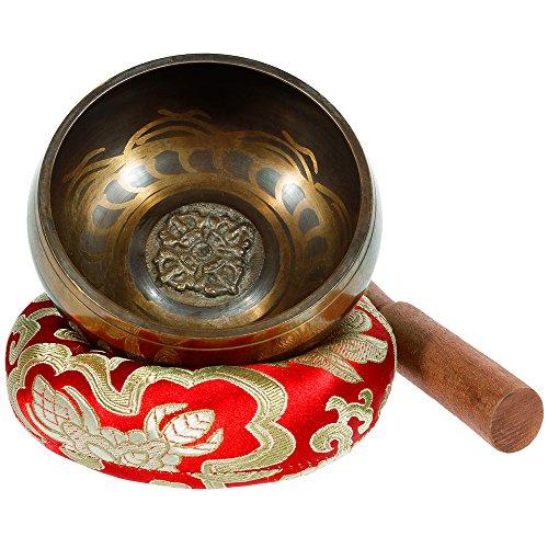 Rovtop klangschale mit Klöppel und Kissen, 9.5cm klangschalenRovtop klangschale mit Klöppel und Kissen, 9.5cm klangschalen für Meditation Entspannung, Stress und Angst Relief, Singing Bowl aus Tibet
