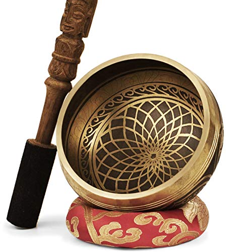 TARORO Tibetische Klangschale Set aus Nepal- Große 13 cm. Graviert mit...