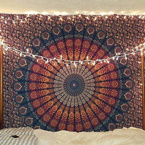 Telo in stile indiano, hippie, psichedelico, con mandala, da appendere al muro,...