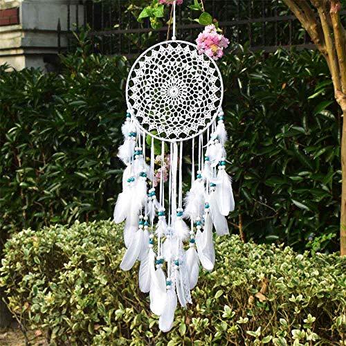 EasyBravo großer Traumfänger im Boho-Stil, mit weißer Feder und blauen Perlen,...