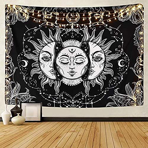 Tarot-Wandteppich Sonne und Mond Psychedelische Tapisserie Schwarz Himmlisch...
