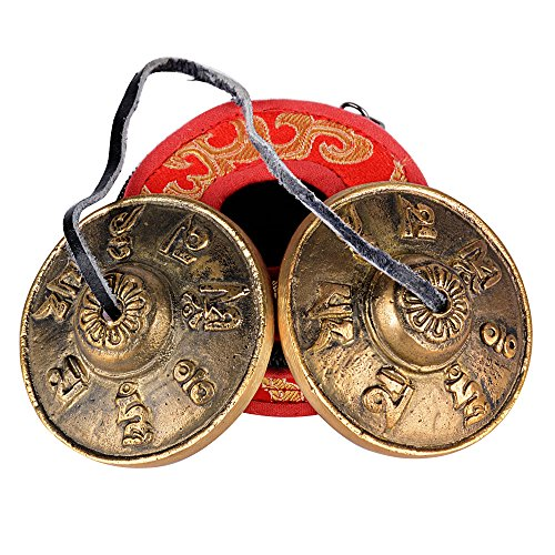 (Durchmesser: 6,5cm) Zimbeln + Schutzhülle (rot) Tibetische Meditation Glocke...