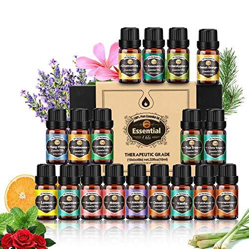 Ätherische Öle 18x10 ml, Teebaum, Lavendel, Eukalyptus, Weihrauch, Zitronengras,...