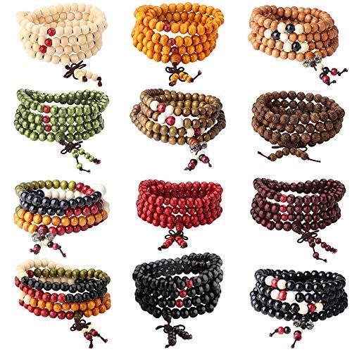 Milacolato 8-12 stücke 108 Mala Perlen Armbänder Buddhistischen Strang Holz Armband...