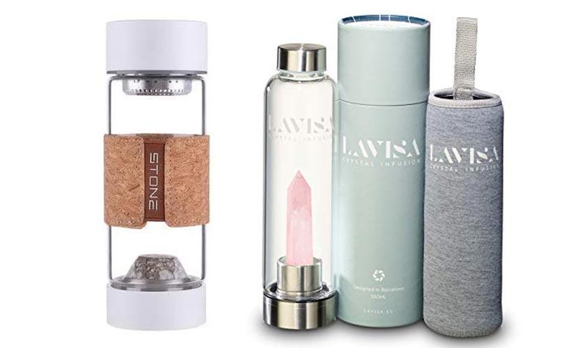 Wasserflaschen mit Edelsteinen