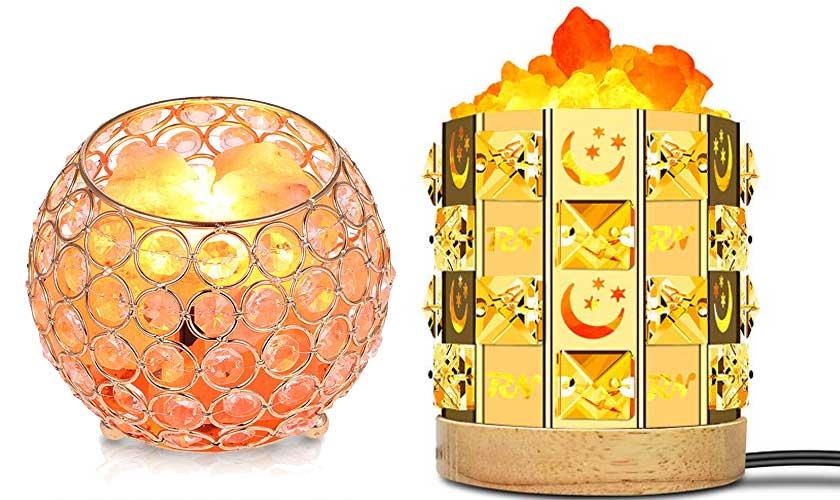 Salzkristalllampe-Nachttisch